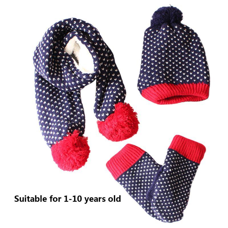 Children Scarf Hat Gloves Set Stars Stripes Fashion Kids Mittens 3 Pcs Accessory U50C