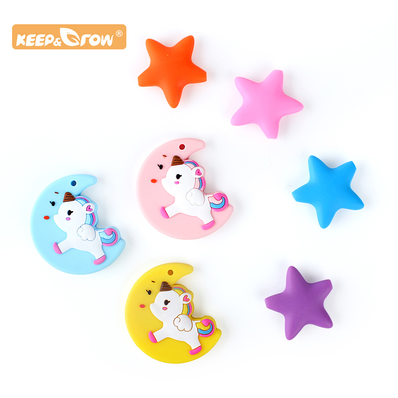 Keep&Grow 3pcs Moon Unicorn Silicone Teether Star Silicone Bead Baby Teething Beads Chewable Infants Nursing Nipple Chain Tools