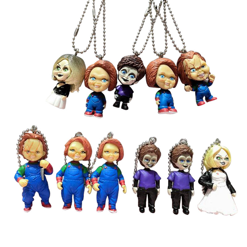 NECA Scary chucky Figure Toys Horror Movies Child's Play Bride of Chucky pendant keychian Doll toy