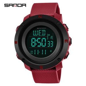 Image 2 - 2019 三田新 30 メートル防水レディース腕時計多機能スポーツの女性はデジタル LED 表示の女性の腕時計