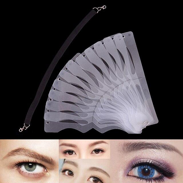2019 New 12PCS Eyebrow Grooming Shaping Stencil DIY Eyebrow Shaper Tattoo Ruler Makeup Template Beauty Makeup Tools Kit Sale
