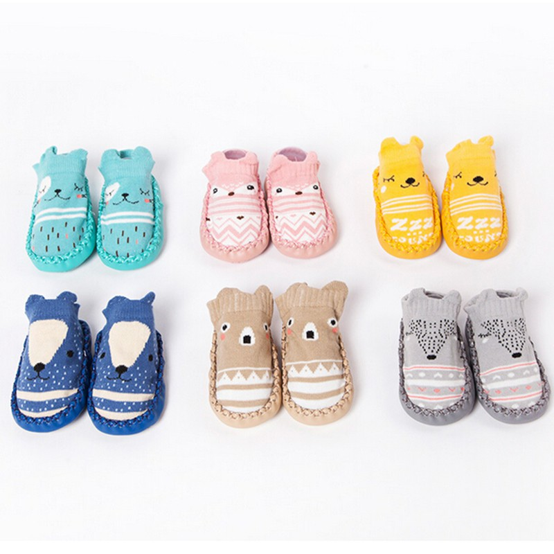Hotborn 1 Pair Of Floor Shoes For Kids Cartoon Fox Owl With Rubber Sole Prewalker Soft-soled Non-slip Shoes