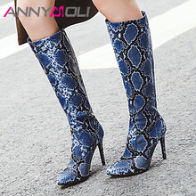 ANNYMOLI Winter Knee High Boots Women Snake Print Thin Heel Long Sexy Slim Super Shoes Female Autumn Red Size 43