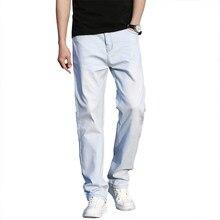 2021 primavera verão fina reta solta luz azul jeans juventude marca roupas de algodão estiramento denim jeans tamanho grande 40 42 44