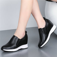 Fashion Sneakers Women Cow Leather Wedges High Heel Vulcanized Shoes Female Breathable Round Toe Platform Trainers Casual