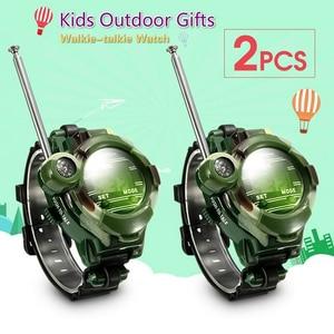 2pcs Walkie Talkies Watches Toys for Kids 7 in 1 Camouflage 2 Way Radios Mini Walkie Talkie Interphone Clock Children smart toys