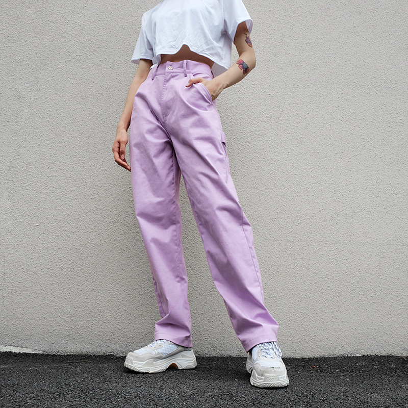 HOUZHOU High Waist Pants Women Cotton Trousers Women Purple Cargo Pants Women Streetwear 2020 Full Length Panties Ladies