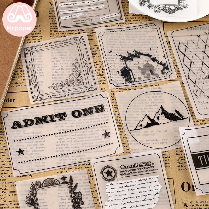 Mr Paper 30pcs/lot 8 Designs Transparent Sulfate Butter Paper Memo Pads Loose Leaf Notepad Diary Creative Writing Note Memo Pads 2