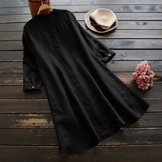 #H40 Casual Loose Cotton And Linen Blouse Women Soild Button Long Sleeve Long Shirt Womens Tops And Blouses Blusa Feminina 4