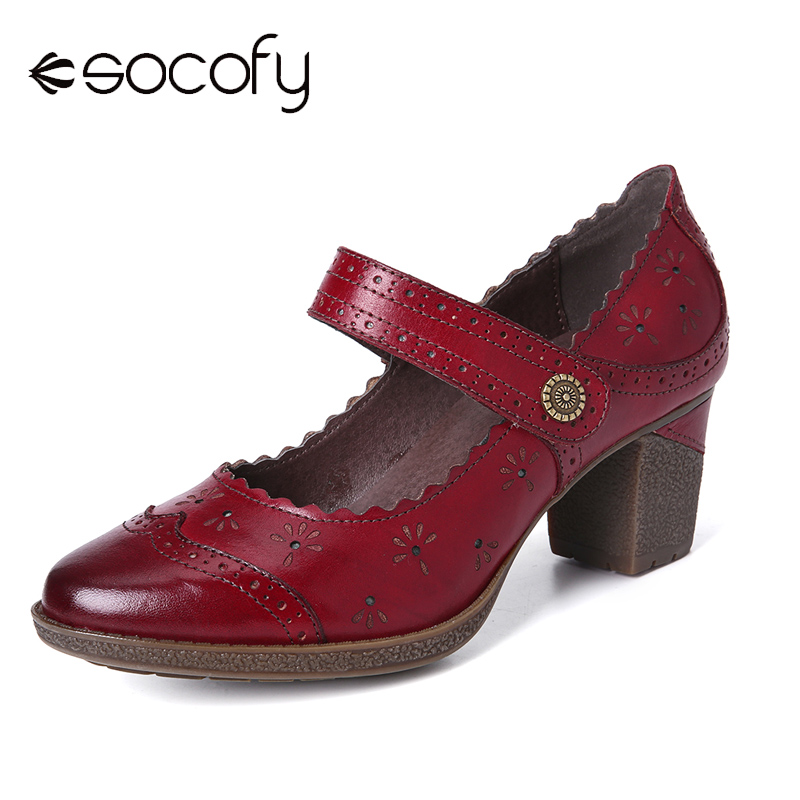 SOCOFY Retro Hollow Embossed Flower Elegant Pump Buckle Genuine Leather Solid Color Pumps Women Shoes Botas Mujer 2020