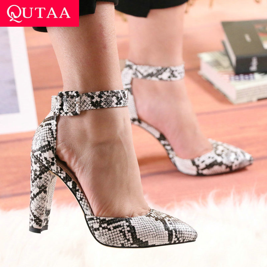 QUTAA 2020 Fashion Snakeskin PU Leather Women Shoes Square High Heel Women Pumps Sexy Pointed Toe Buckle Ladies Shoes Size 34-43