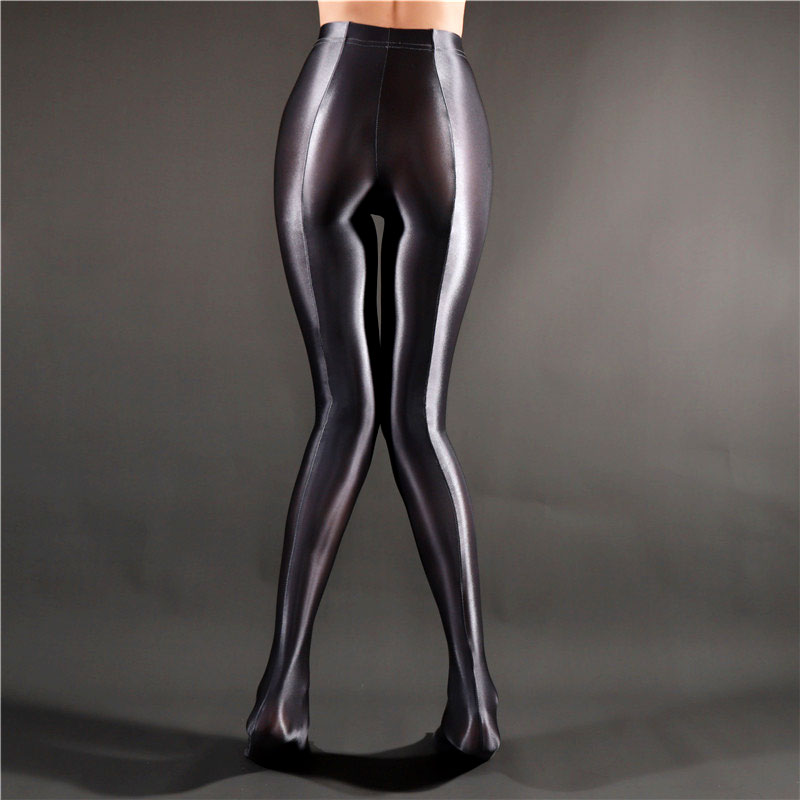 Sexy Women Stripe Oil Gloosy Pencil Pant Shiny Full Smooth See Through Sexy Leggings Candy Color Plus Size Dance Wear F20