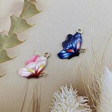 10 pçs colorido borboleta esmalte charme para fazer jóias crafting inseto brinco pingente colar pulseira flinding 16*24mm