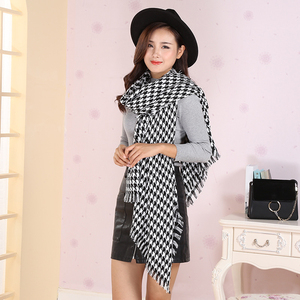 Image 2 - women winter thick fashion soft warm lady cashmere white and black long houndstooth scarf with tassel