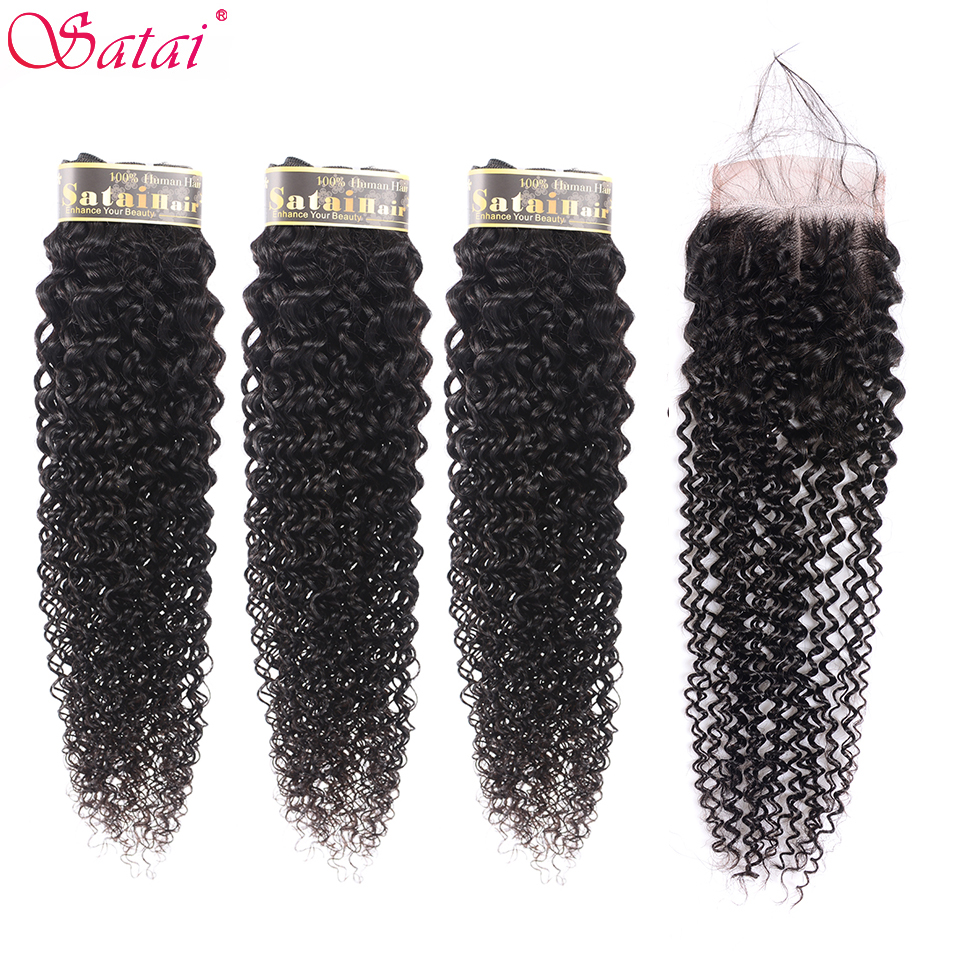 Satai Mongolian Kinky Curly Hair 3 Bundles With Closure Middle Part Natural Color Human Hair Weave Bundles Non-Remy Hair