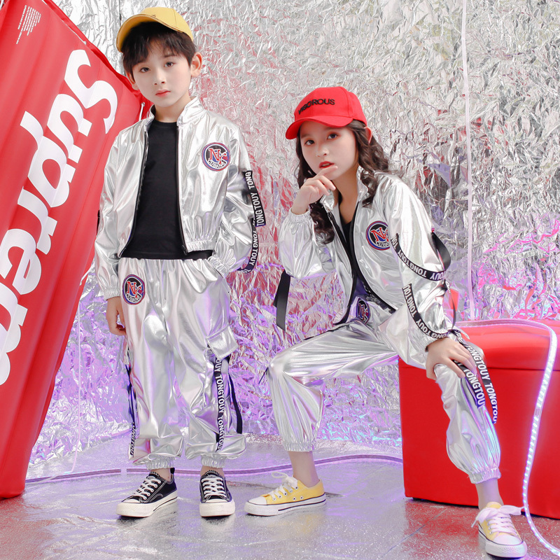 Kids Concert Hip Hop Clothing Outfits Loose Jacket Tops Pants For Girls Boys Sequins Dance Costume Wear Ballroom Clothes Wear