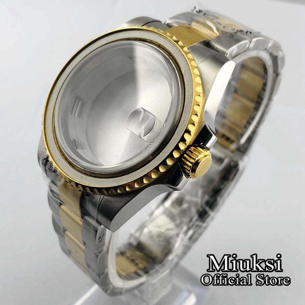 Caixa de Relógio Inoxidável para Eta Miuksi Safira Vidro Aço 2836 Mingzhu Dg2813 – 3804 Miyota 8205 8215 821a 82 Series 40mm 316l