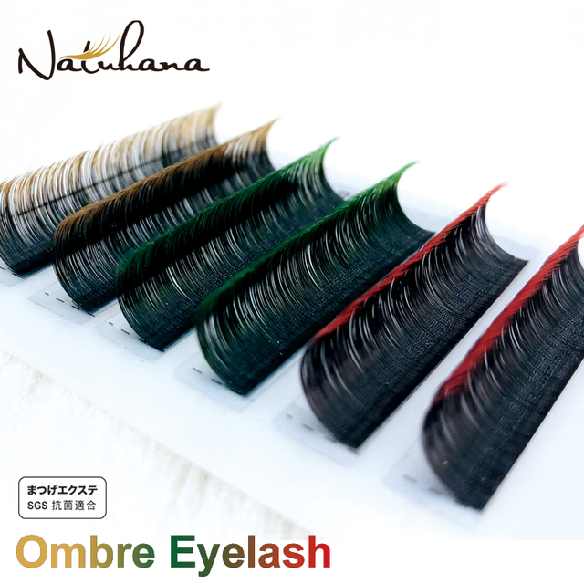 NATUHANA Ombre Blue Purple Red Brown Green Color Eyelash Extension Individual Synthetic Mink Gradient Color EyeLashes False Lash