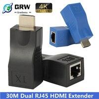 Extender hdmi rj45 4K 3D HDMI 1.4 30M Extender a RJ45 su Cat 5e/6 Network LAN Ethernet Adapter-grande vendita