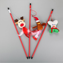 3 pcs Interactive Elastic Pet Cat Playing Sticks Fishing Santa Claus Tracing Bell Toys Supplies