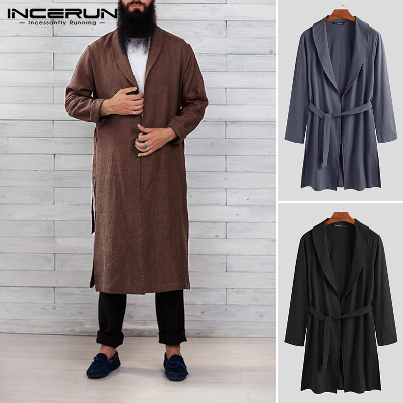 INCERUN Cotton Men Robes Solid Color Long Sleeve Homewear Fitness Casual Long Bathrobes Vintage Lapel Men Kimono Pajamas S-3XL