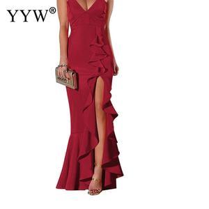 Image 2 - 섹시한 V 넥 프릴 여성 이브닝 드레스 2020 여름 스파게티 스트랩 긴 파티 드레스 사이드 슬릿 불규칙한 우아한 공식 드레스