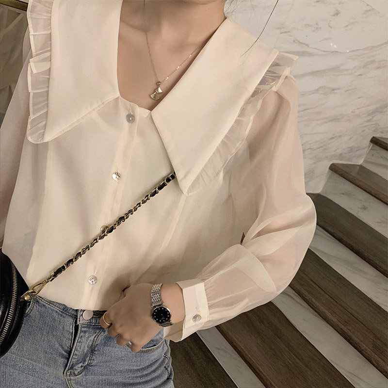 MISHOW 2020 Spring New Women's Blouse Solid Casual Turn Down Collar Female Flounce Shirts Fashion Tops Clothing MX20A4481