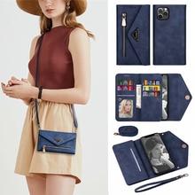 Strap Cord Vouw Envelop Wallet Case Voor Huawei P20 P30 P40 Lite Mate10 Mate20 Pro Y6 Y7 P Smart 2019 credit Card Telefoon Cover