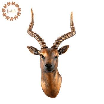 Retro Antelope Head Creative Resin Animal Head Antelope Horn Wall Decoration Wall Hanging Ornaments Christmas Decor Best Gift