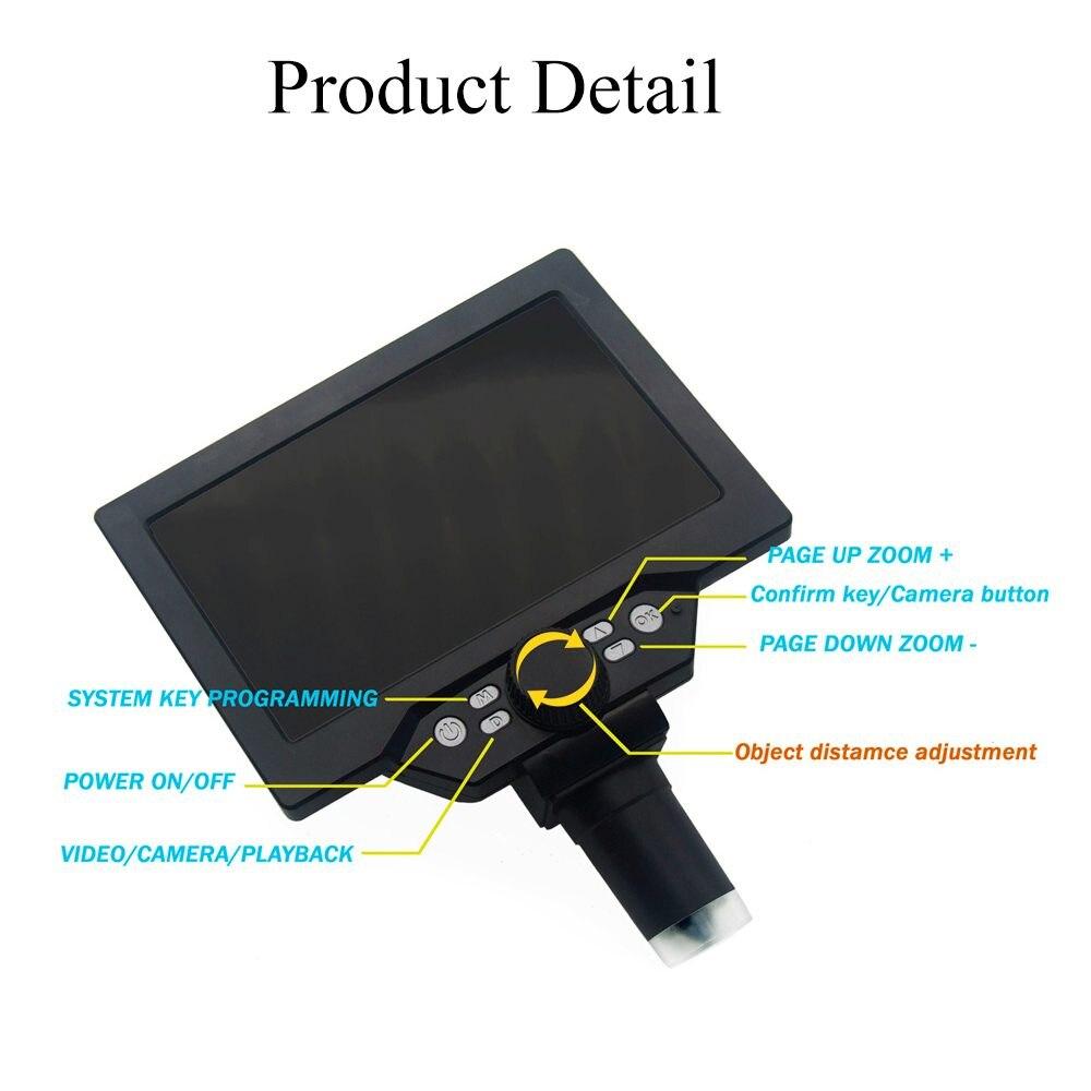 Microscope vidéo numérique, Microscope numérique 1 1200X G1200 Microscope vidéo électronique de 7 pouces à affichage LCD, loupe à amplification continue de 12MP avec batterie - 5
