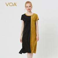 VOA 19MM Black Silk Round Neck with Rotator Cuff Mix Material Stitching Arch Craft Asymmetric Hem Dress Clothes AE108