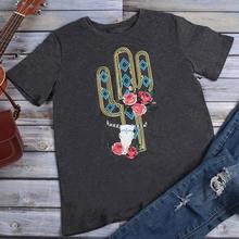 T-Shirt col rond femme, estival et décontracté, estival et estival, avec imprimé de têtes de mort et Cactus, harajuku, 2019