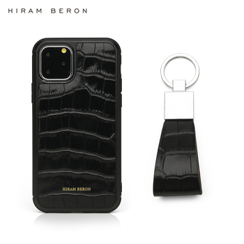 Hiram Beron Personalized Free leather key holder with case for Iphone 11 Pro Max gift set for Christmas dropship