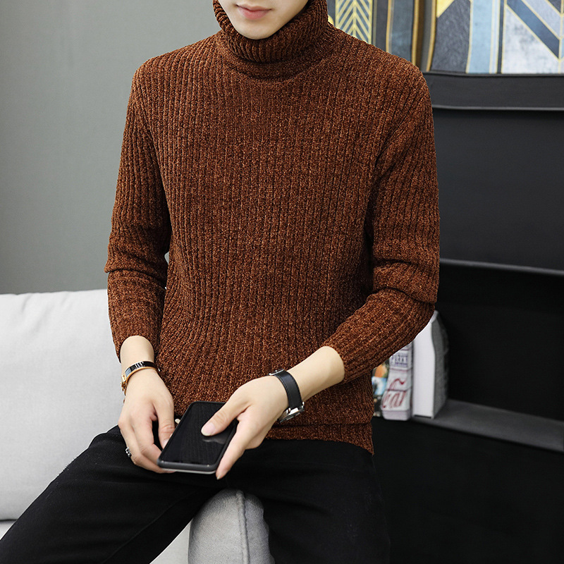 Men Sweater Khaki Grey Black Winter Long Sleeve Turtleneck Casual Pullovers Thick New Fashion Mens Sweaters