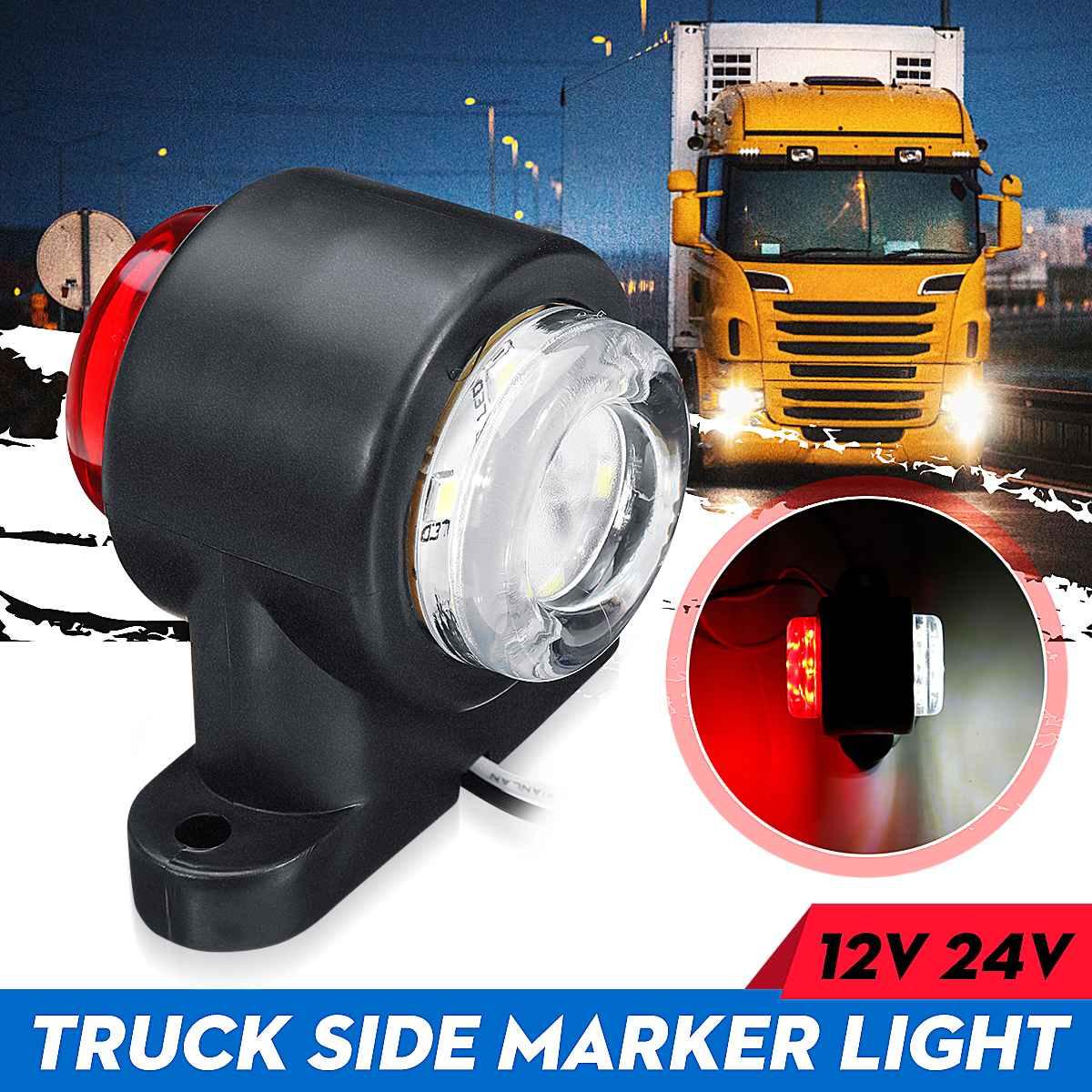 1Pc Single 10-30v 12 LED Universal Car Truck Side Marker Light Side Lights Indicator Lamp Red White For Camper Trailer Lorry RV