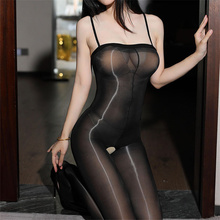 Women Sexy Erotic Lingerie Hot Glossy Sexy Pantyhose Open Crotch Female Sexy Tights Large Size Long Transparent Stockings Medias