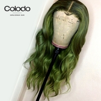 COLODO Pink Wig Remy Brazilian Human Hair Loose Wave Wig Green Human Hair Wig 22 Gluless Lace Front Human Hair Wigs for Women