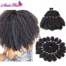 """אמיר מגה שיער האפרו קינקי טוויסט סינטטי שיער 14 """"סרוגה צמת שיער לנשים שחורות שיער הרחבות"""