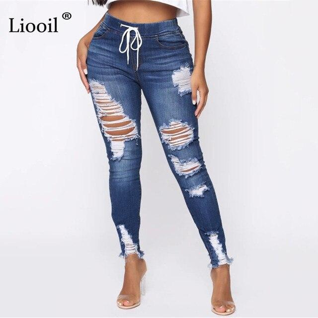 Luz Azul Jeans rasgados para damas 2021 calle estilo Sexy Mid Rise Distressed Pantalón Stretch Skinny agujero pantalones de Vaqueros pitillo 3