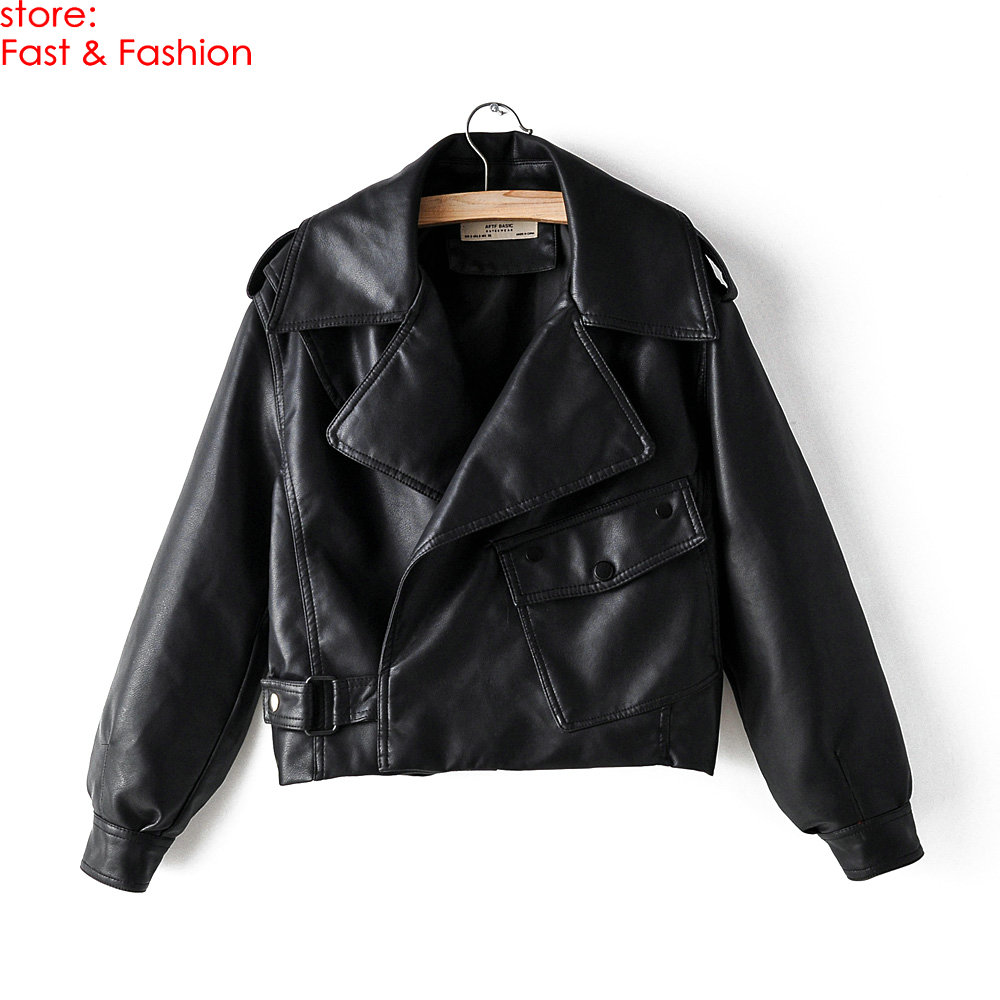 2019 New Korea Style Autumn Winter Women Casual Loose Faux   Leather   Jackets Office Lady Free Oversize Batwing PU Black Red Coats