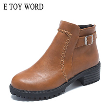E TOY WORD Womens Ankle Boots 2019 thick-heel-shoes boots Fashion platform Boots Women Shoes Autumn round toe zip Leather Boots цены онлайн