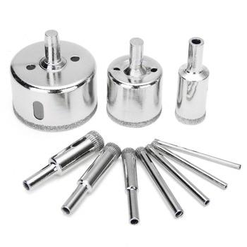 цена на 10pcs 3-50mm Diamond Drill Bit Set for Glass Ceramic Tile Marble Hole Saw Drilling Opener Electric Drilling Tool Accessories
