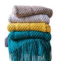 Manta de punto Raya Vertical para decoración de sofá, manta de burbujas multifunción, suave y cálida, mantas para la Siesta, ropa de cama de viaje con borla, x 220cm