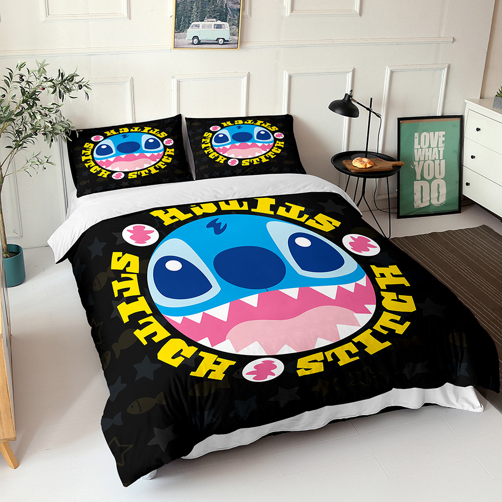 Disney Lilo & Stitch Bedding Kids Cartoon Down Duvet Quilt Cover Pillowcase Birthday Gift for Boys and Girls Bedroom Decor