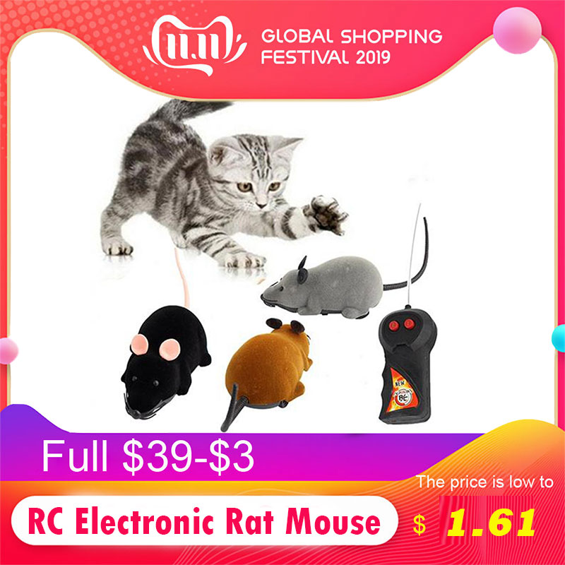 Mini Funny RC Simulation Wireless Remote Control RC Electronic Rat Mouse Mice Toy Tricky Plastic Flocking Halloween Xmas For Pet