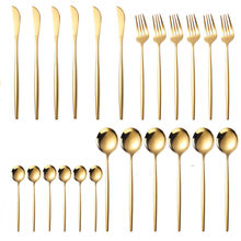 18/10 Stainless Steel Tableware Set Golden Cutlery Set 24 Pcs Fork Kitchen Dinner Set Cutlery Knives Forks Spoons Dropshipping