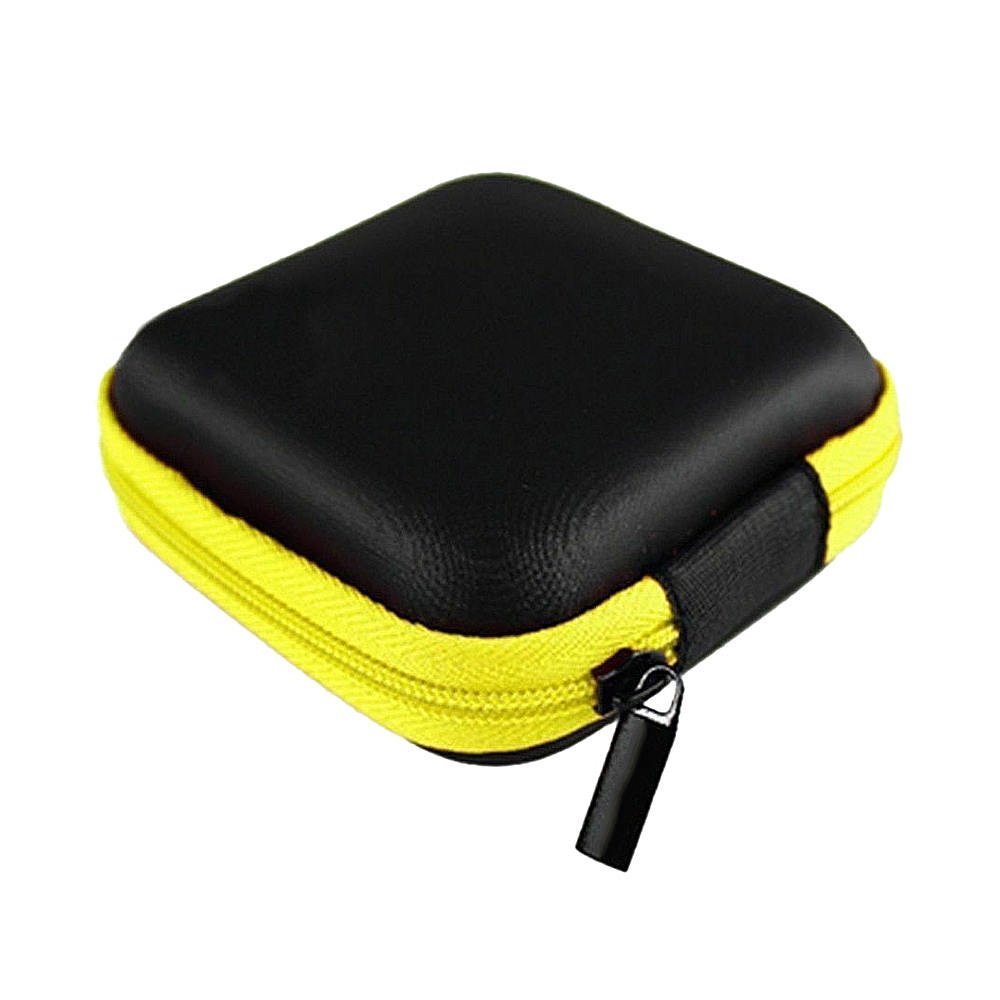 Portable PU Zippered Pouch Square Shape Earphone Case Mobile Phone Data USB Cable Charger Organizer Storage Box