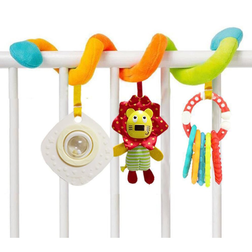 Baby Infant Cute Lion Rattle Toy Hanging Bed Baby Lathe Pendant Spins On Stuffed Toys Gift Rattles Bite Developmental Plush Toy