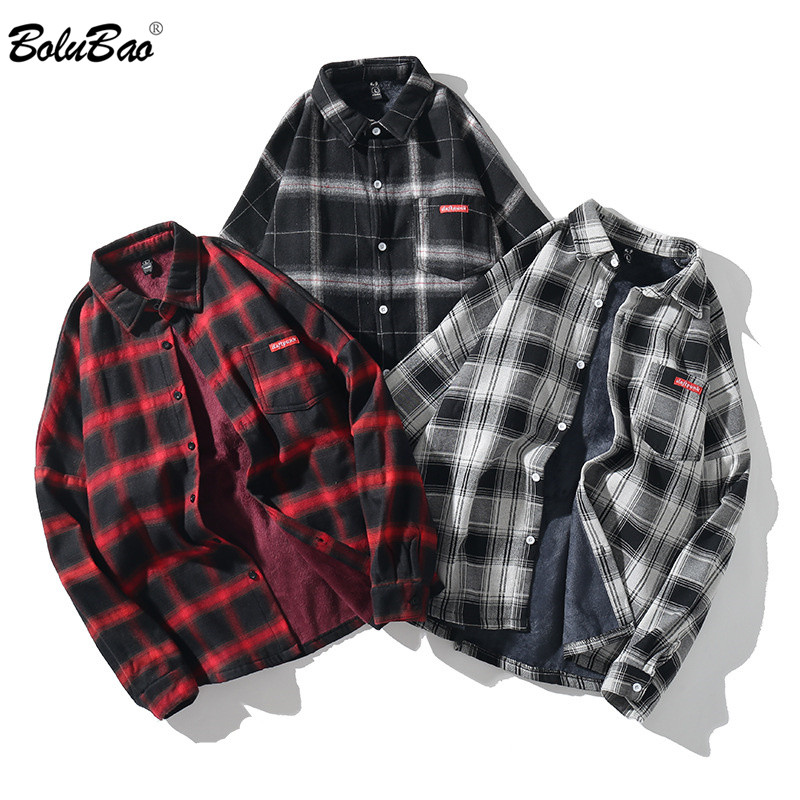BOLUBAO Mens Fashion Plaid Shirt Autumn Male Street Trend Wild Shirt Coat Men's Plus Velvet Long Sleeve Shirts Brand Clothing