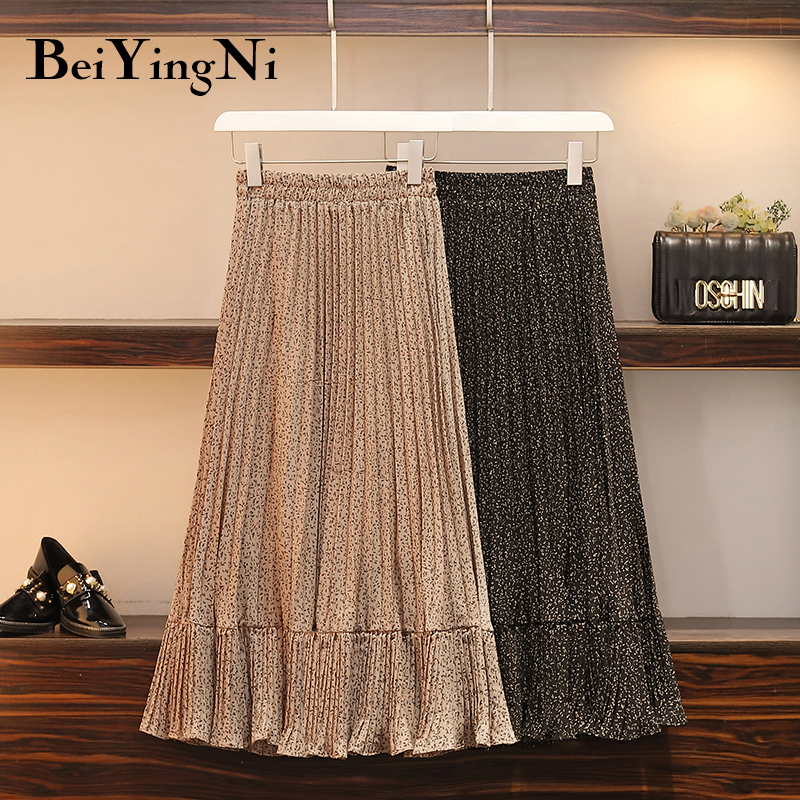 Beiyingni Summer Women Skirt Fresh Floral Print High Elastic Waist Pleated Long Casual Skirts Midi Plus Size Khaki Black Faldas
